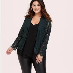 NWT Torrid Size 1 Green Lace Blazer